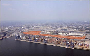 Air view of the port